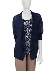 Sag Harbor Women's Hot to Trot Floral Print Layered-Look Top - Navy - Sz:M