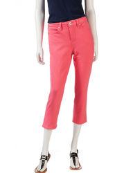 Bandolino Women's Selene Solid Color Knit Denim Capris - Orange - Size: 8