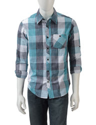 Ocean Current Men's Blue & Grey Check Print Shirt - Blue Plaid - Medium