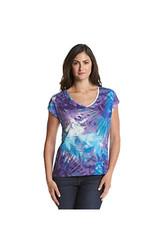 Chaus Women's Embellished Palm Print Top - Purple/Teal - Medium