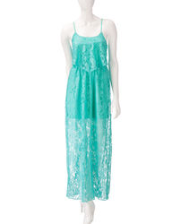 Trixxi Women's Floral Print Popover Maxi Dress - Mint - Size: Medium
