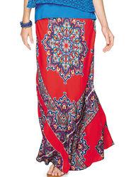 Valerie Stevens Women's Multicolor Medallion Print Maxi Skirt - Red - M