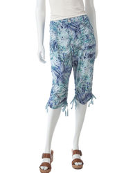 Bandolino Women's Colette Tonal Leaf Print Skimmer Capris - Blue - Size: 6