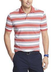 IZOD Men's Bar Stripe Pique Polo Shirt - Cranberry - Size: Medium