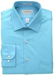 Van Heusen Men's Sateen Dress Shirt - Aquamarine - Size: 15 x 32/33