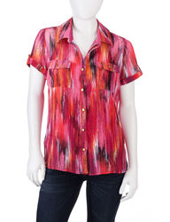 Women's Petite Shimmering Ikat Print Layered-Look Top - Pink/Coral -Sz: XL