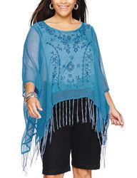 Energe Women's Beige & Red Felicity Fringe Poncho Top - Blue - Size: 2X