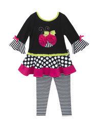 Rare Editions Girls 2 Piece Ladybug Top & Leggings Set - Black - Size: 4-6