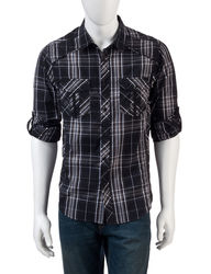 Rustic Blue Men's Plaid Woven Shirt - Black/White - Size: L