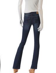 Wishful Park Juniors Girls Slim 2-Button Bootcut Jeans - Dark Blue - Sz: 5