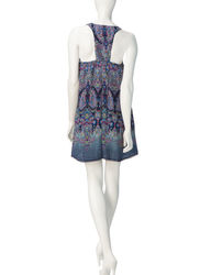 Sequin Hearts Women's Multicolor Printed Swing Dress - Blue - Size: Medium