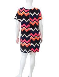 Justify Women's Chevron Print Shift Dress - Pink Black - Size: 1X