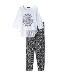 One Step Up Girls Kids Flower Top & Aztec Print Pants - Black - Size: 009