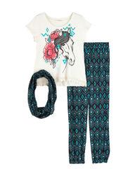 Speechless Girl's 3 Pc Horse Top & Jogger Pants Set - Multi - Size: 7-16