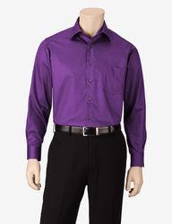 Van Heusen Men's Solid Color Lux Dress Shirt -Purple - Size:17 1/2 X 34/35