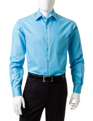 Van Heusen Men's Solid Color Lux Dress Shirt - Aqua - Size: 17 X 32/33