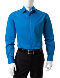 Van Heusen Men's Solid Color Fitted Lux Dress Shirt - Blue - Sz: 16X34/35
