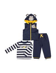 Boys Rock Kids 3-Piece Monkey Vest and Pant Set - Navy - Size: 12 months