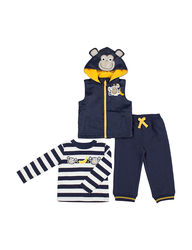 Boys Rock Kids 3-Piece Monkey Vest and Pant Set - Navy - Size: 24 months