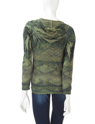 Energe Women's Abstract Print Open Knit Accent Jacket - Green - Size: L