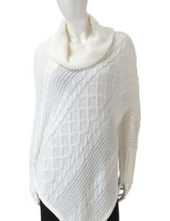Hannah Women's Egret Cable Knit Poncho - White - Size: Medium