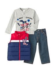 Boys Rock Baby 3-pc Monster Truck Vest & Pants Set - Navy - 12M