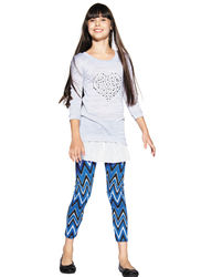 One Step Up Girls 2-Pc Heart Top & Chevron Print Leggings - Gray - 10/12