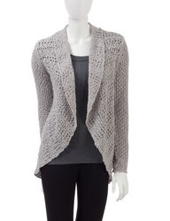 Hannah Women's Leo & Nicole Light Brown Open Stitch Cardigan - Tan - L
