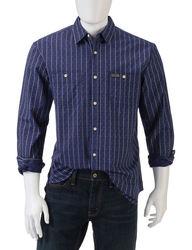 U.S. Polo Assn. Men's Vertical Print Shirt - Blue - Size: Large