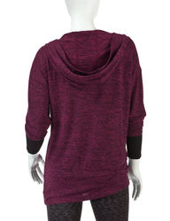 H2 Hannah Performance Marled Knit Pullover Hoodie - Raspberry - Size: S
