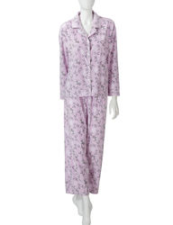 Hannah Women's 2pc Winter Bird Print Pajama Set - Purple - Size: XL