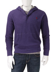 U.S. Polo Assn. Men's Solid Color Thermal Hoody - Red - Size: L