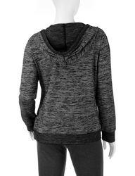 Silverwear Petites Space Dye Print Hoodie - Black - Size: Medium