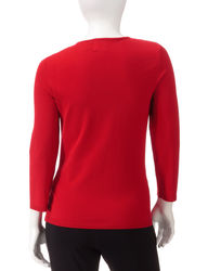 Ruby Rd. Women's Petites Red Jewel Embellished Sweater - Red - Size: P/XL