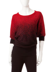 Hannah Women's Metallic Ombre Knit Sweater - Red - Size: Medium