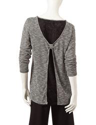 Hannah Women's Patterned Open Back Sweater - Black / White - Size: XL
