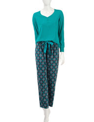 Jasmine Rose Women's 2 Piece Tile Print Pajama Set - Green - Size: Medium