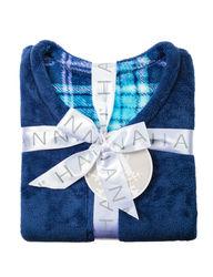 Hannah Women's 2-pc. Plaid Print Folded Pajama Set - Navy - Size: Large