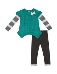 Little Lass Girls 2 Piece Sweater & Leggings Set - Green - Size: 6X