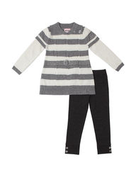 Little Lass Girls 2PC Sweater & Leggings Set - Grey - Size: 6
