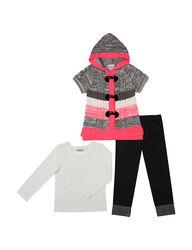 Little Lass Girls 3 Piece Striped Sweater & Leggings - Coral - Size: 6
