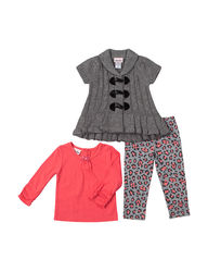Little Lass Girls 3 Piece Sweater & Leggings Set - Coral - Size: 6