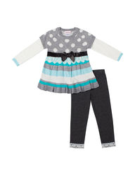 Little Lass Girl's 2 Pc Sweater & Leggings Set - Multi - Size: 2 Toddler