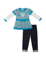 Little Lass Girls 2 Piece Heart Top & Leggings Set - Turquoise - Size: 2