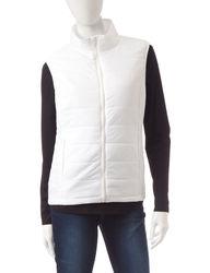 Just One Women's 2PC Raglan Top & Puffer Vest - Black/White - Size: M
