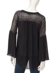 Signature Studio Women's Urban Tribe Lace Shoulder Top - Black - Size: S