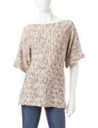 US Sweaters Women's Wide Crew Neck Space Dye Sweater - Beige - Size: L