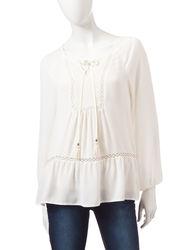 Signature Studio Crochet Front Gauze & Clip Dot Top - White - Size: XL