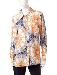 Valerie Stevens Women'sFloral Print Button Top - Blue - Size: XL