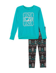 One Step Up Girls Kids 2Pc Love Legging Set - Jade - Size: 7/8